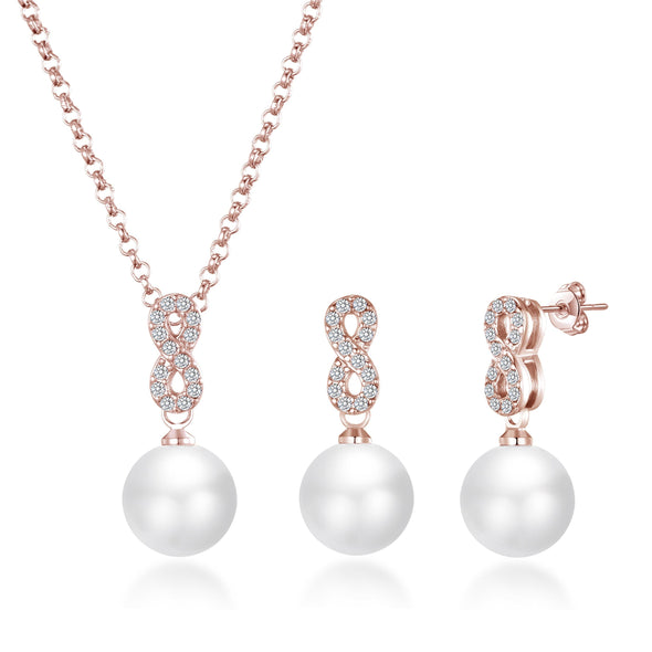 Rose Gold Infinity Pearl Set Created with Swarovski Crystals