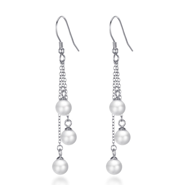 Sterling Silver Triple White Pearl Drop Earrings