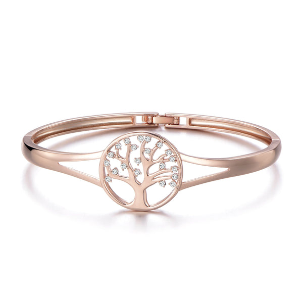 Rose Gold Tree of Life Cuff Bangle Created with Swarovski Crystals