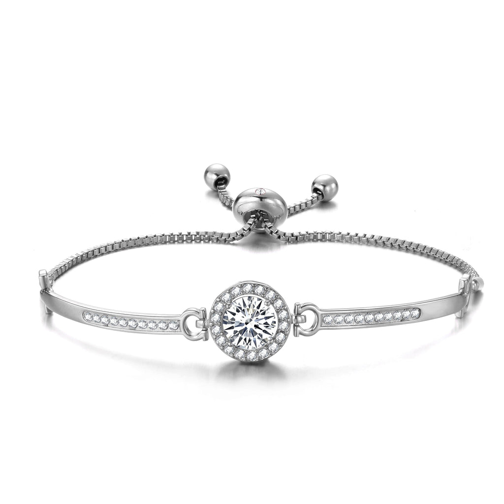 Silver Halo Friendship Bracelet Created with Swarovski Crystals