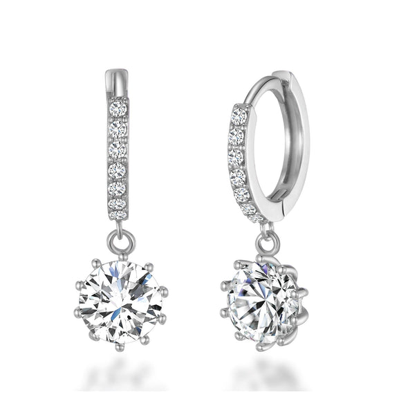 6c46ec8f7 Silver Solitaire Drop Hoop Earrings Created with Swarovski® Crystals