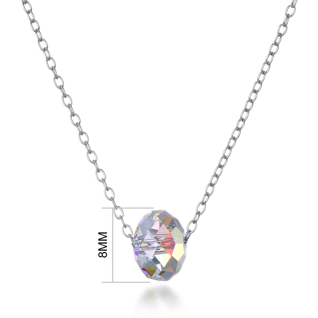 Sterling Silver Aurora Oval Necklace Created with Swarovski Crystals