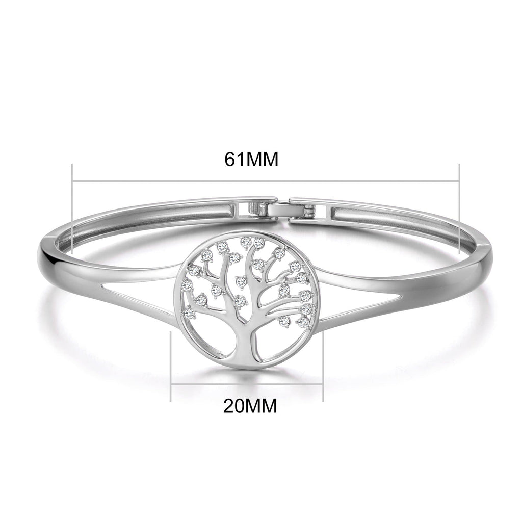 Silver Tree of Life Cuff Bangle Created with Swarovski Crystals