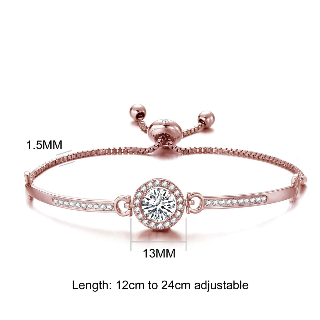 Rose Gold Halo Friendship Bracelet Created with Swarovski Crystals
