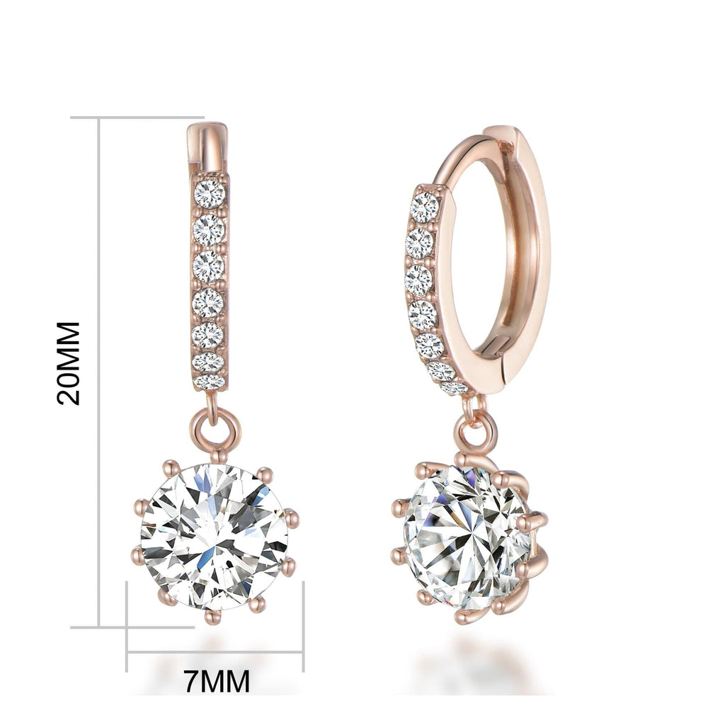 Rose Gold Solitaire Drop Hoop Earrings Created with Swarovski Crystals