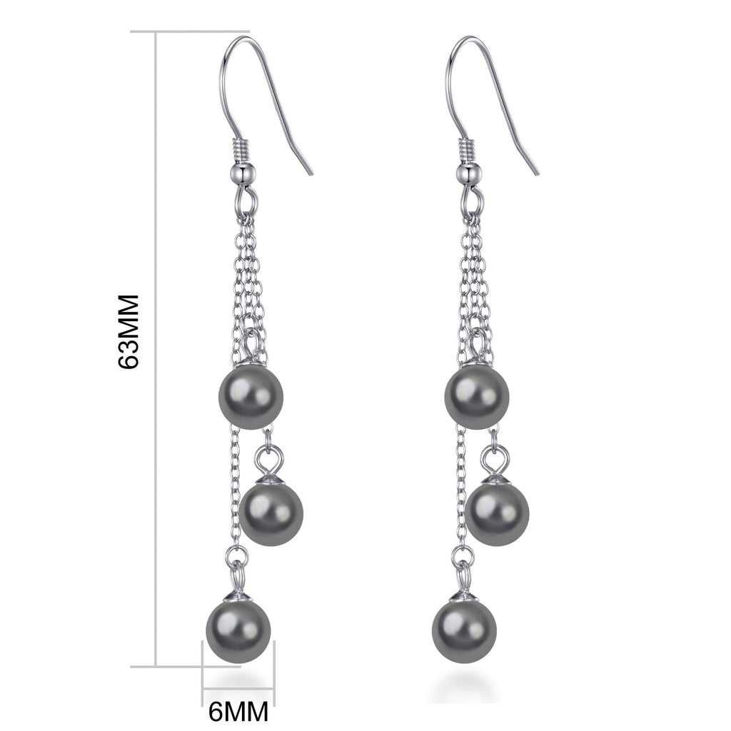 Sterling Silver Triple Grey Pearl Drop Earrings