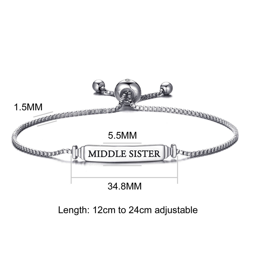 Middle Sister ID Friendship Bracelet Created with Swarovski® Crystals