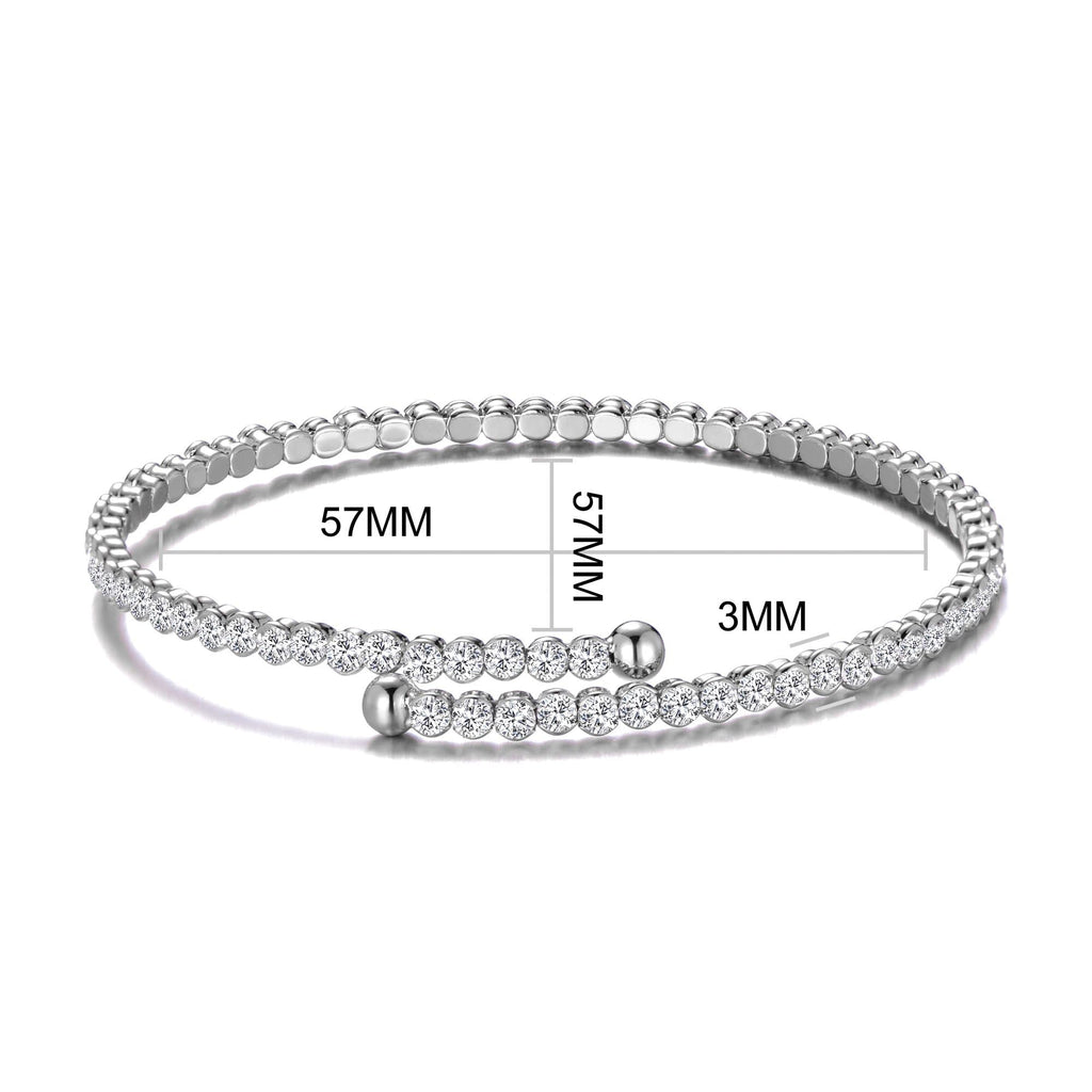 Silver Stretch Tennis Bangle Created with Swarovski® Crystals