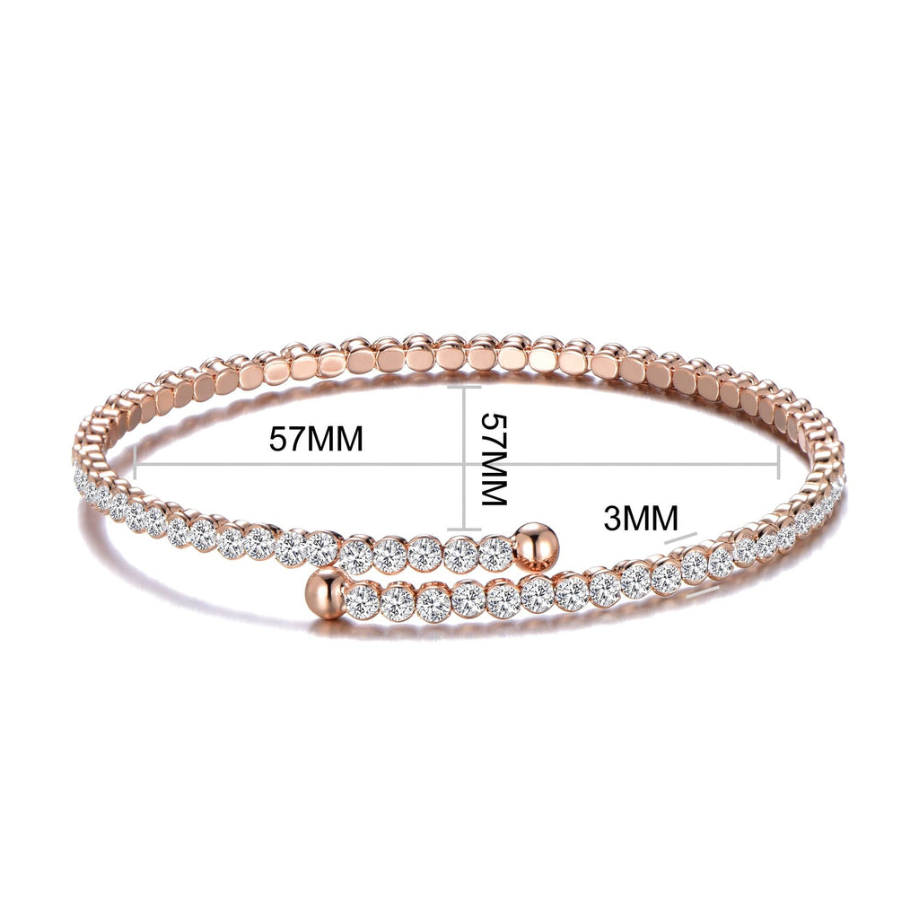 Rose Gold Stretch Tennis Bangle Created with Swarovski® Crystals