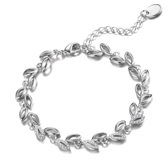Silver Leaf Bracelet Created With Crystals From Swarovski®
