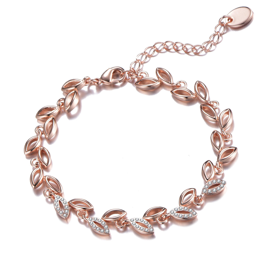 Rose Gold Leaf Bracelet Created With Crystals From Swarovski®