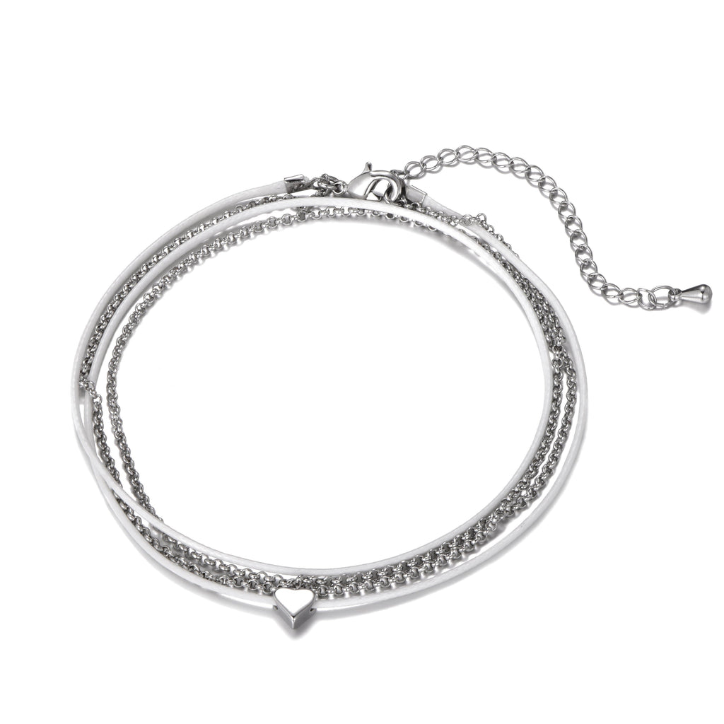 White & Silver Duo Wrap Anklet