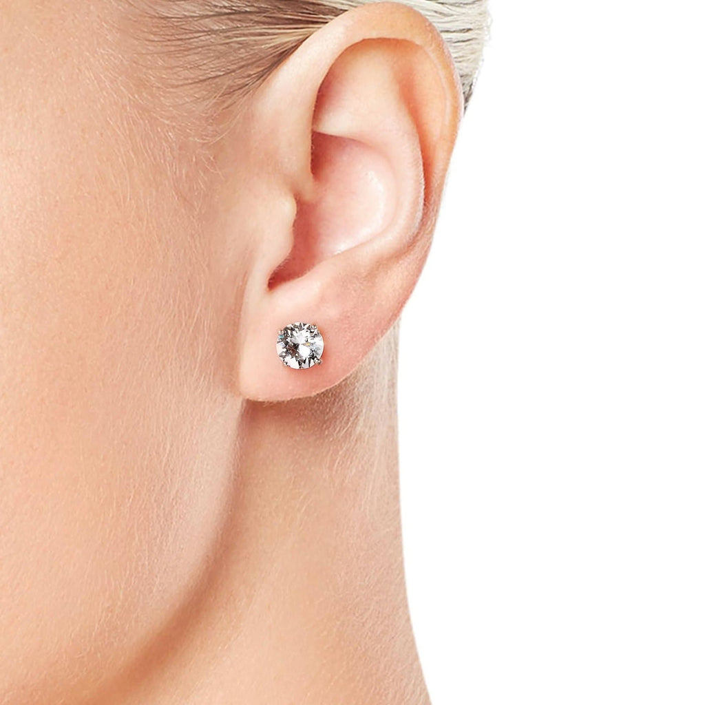 Sterling Silver 3 Pack of 4, 5, and 6mm Earrings Created with Swarovski® Crystals