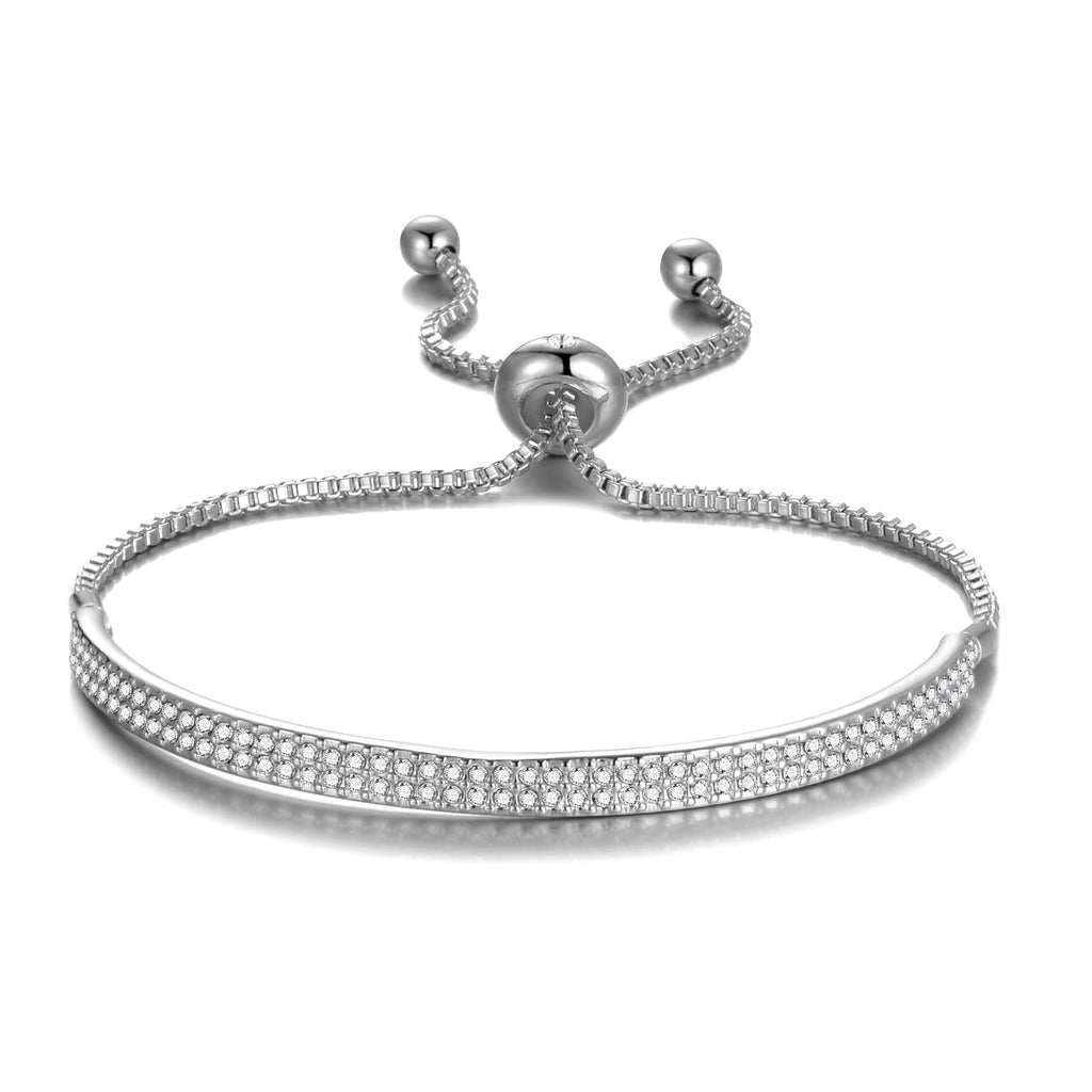 Silver Friendship Cuff Bracelet Created with Swarovski® Crystals