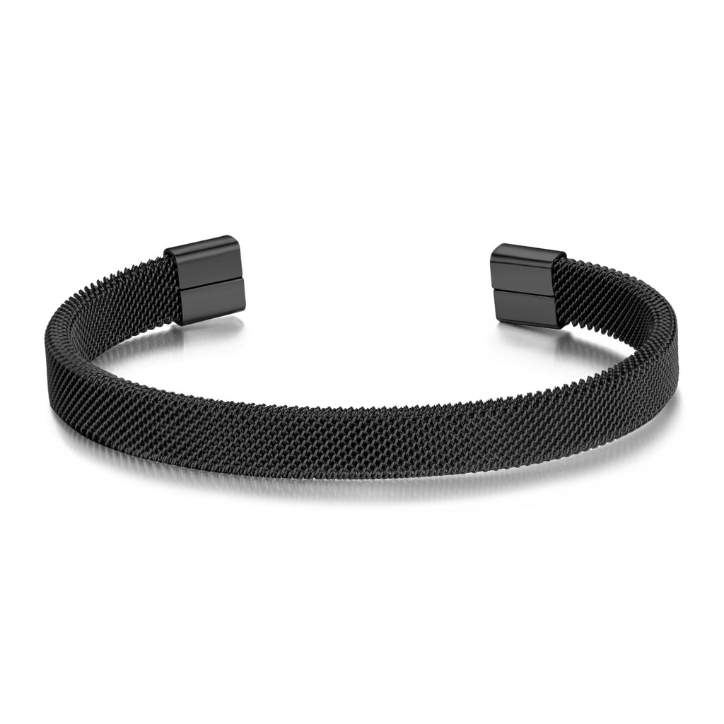 Men's Black Steel Mesh Cuff Bracelet