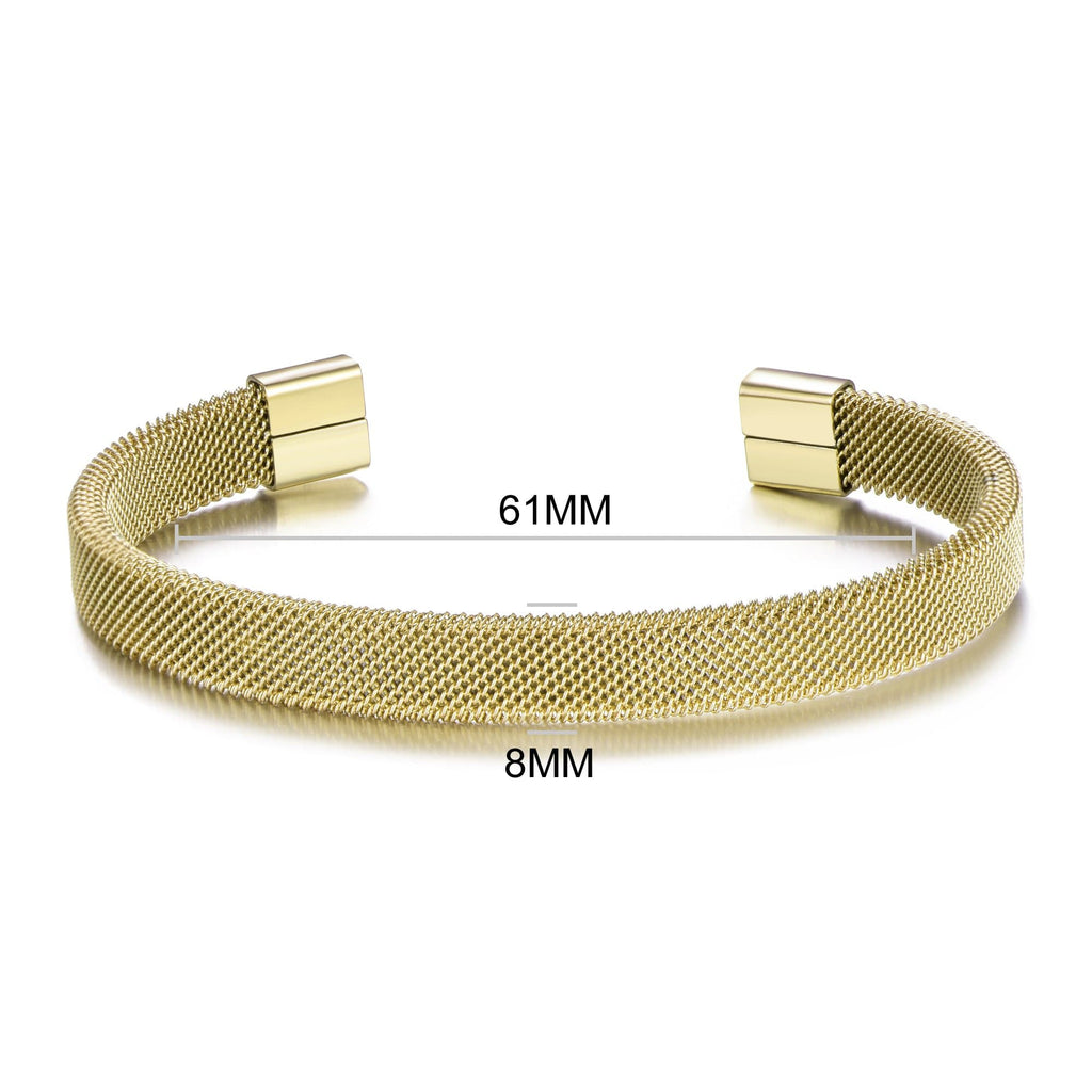 Men's Gold Steel Mesh Cuff Bracelet