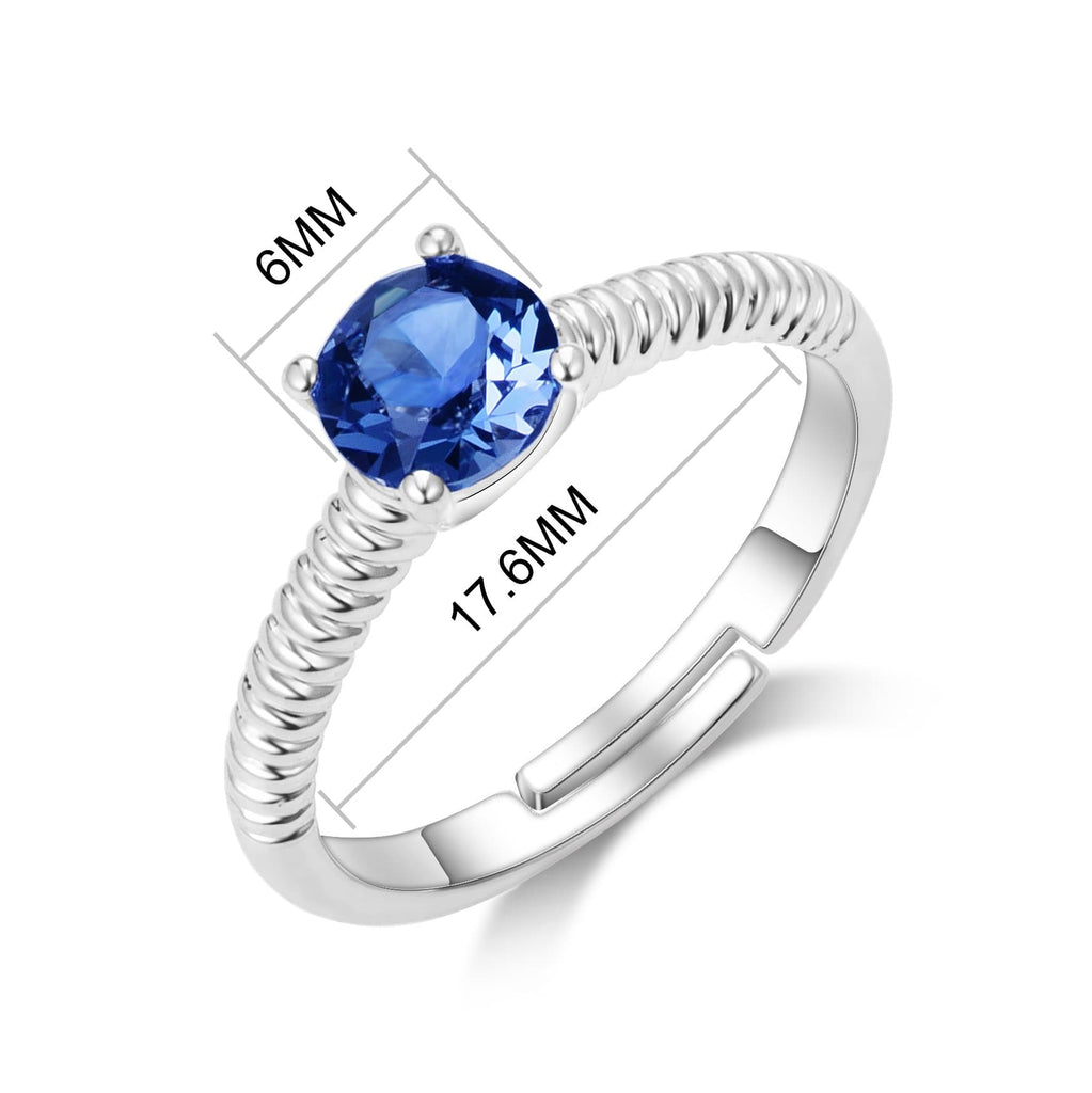 September (Sapphire) Adjustable Birthstone Ring Created with Swarovski® Crystals