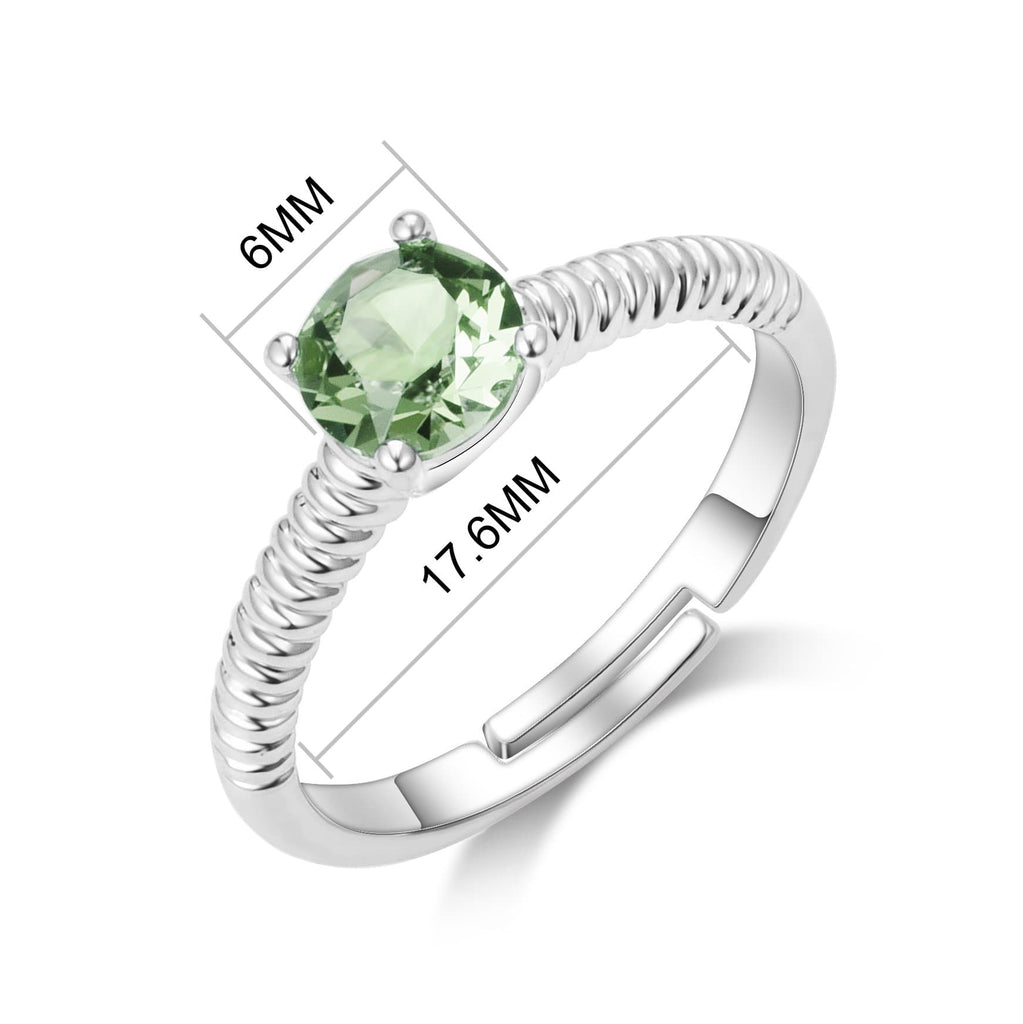 August (Peridot) Adjustable Birthstone Ring Created with Swarovski® Crystals