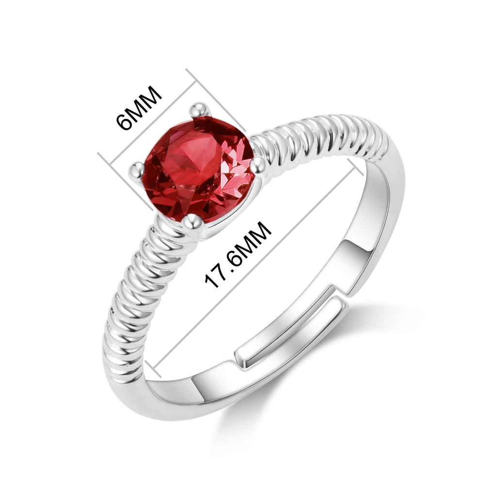 July (Ruby) Adjustable Birthstone Ring Created with Swarovski® Crystals