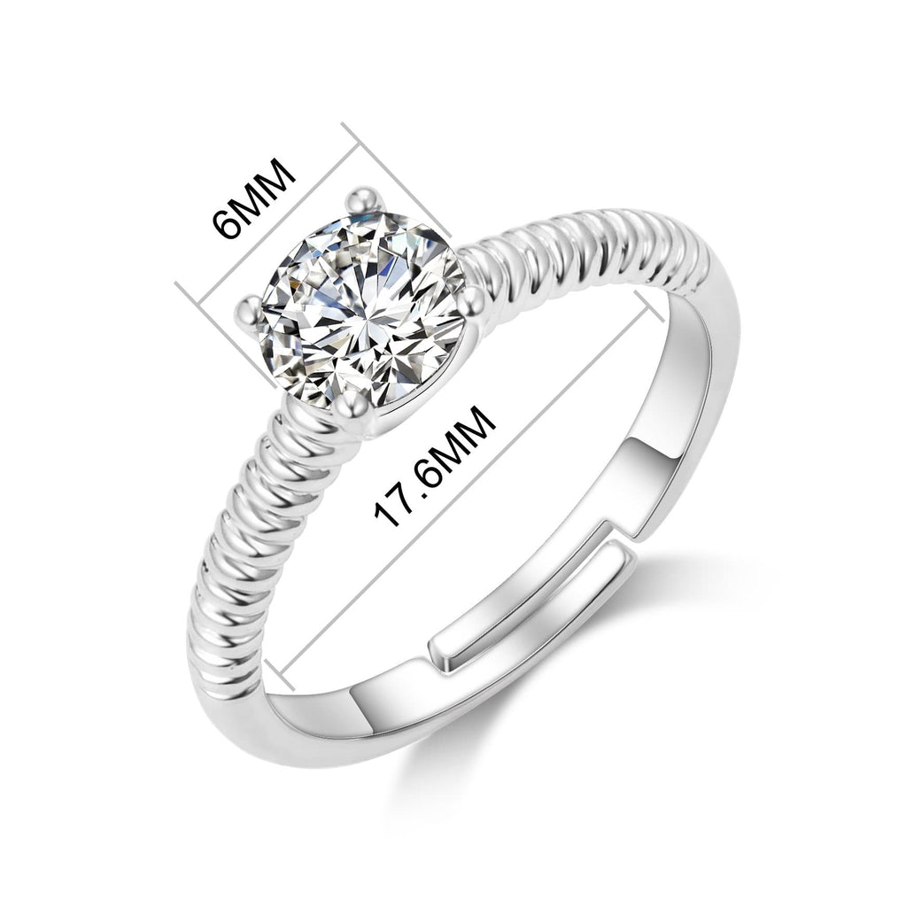 April (Diamond) Adjustable Birthstone Ring Created with Swarovski® Crystals