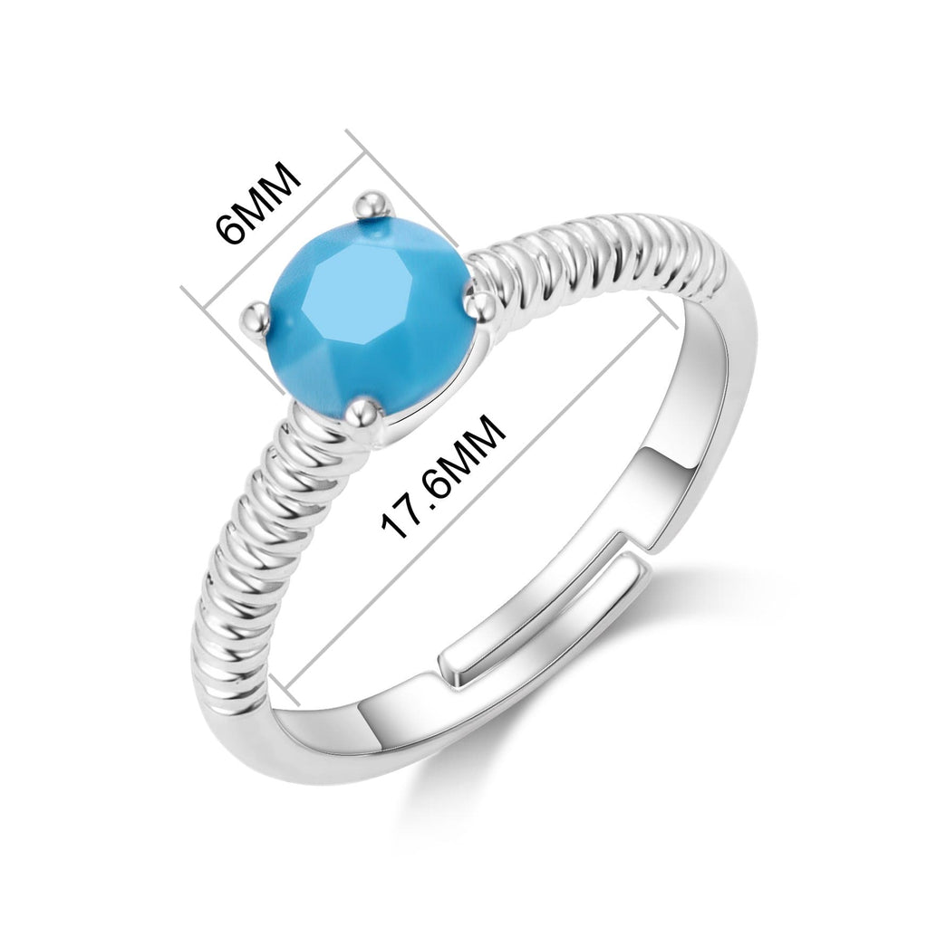 December (Turquoise) Birthstone Ring Created with Swarovski® Crystals
