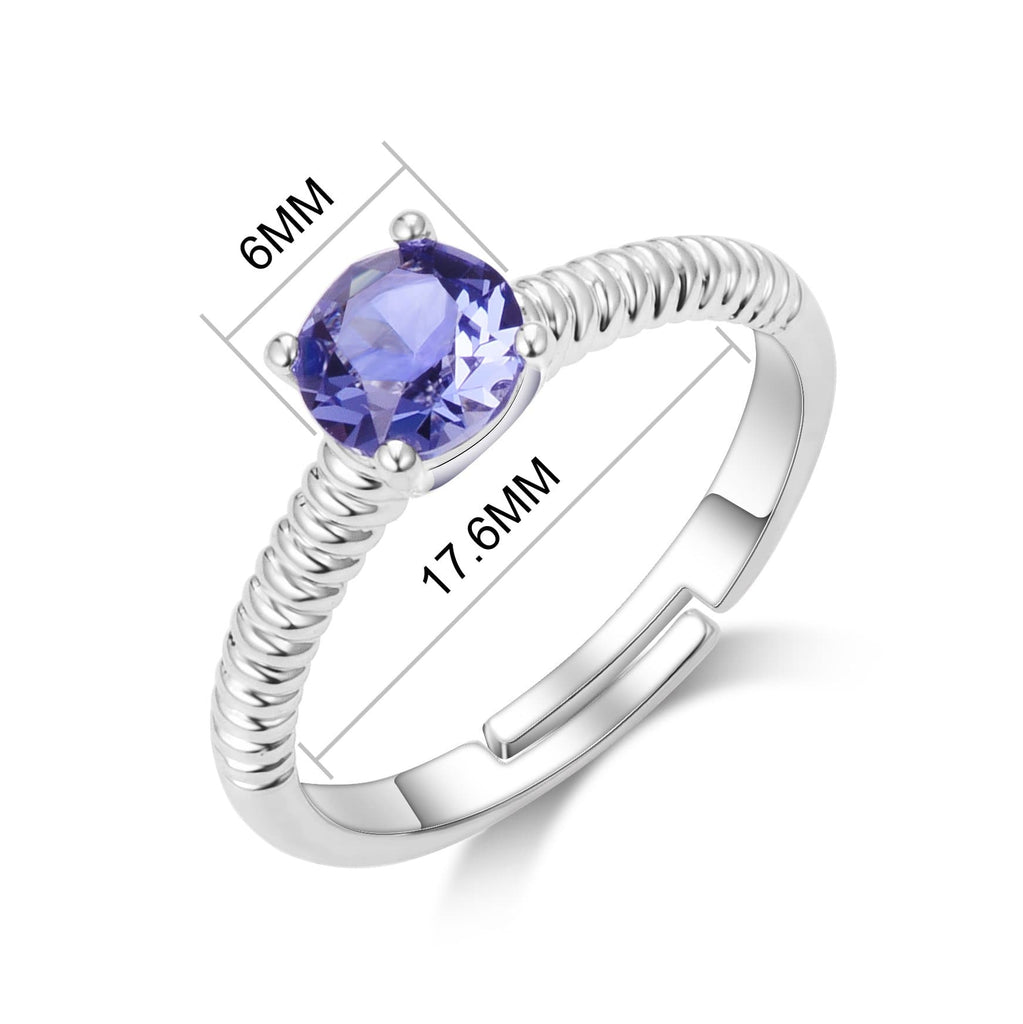 February (Amethyst) Adjustable Birthstone Ring Created with Swarovski® Crystals