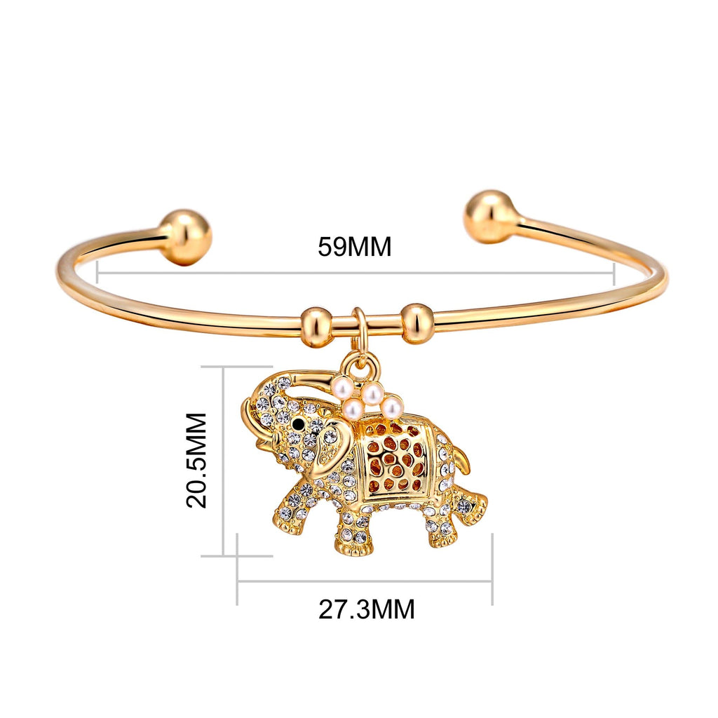 Elephant Cuff Bangle Created with Swarovski® Crystals