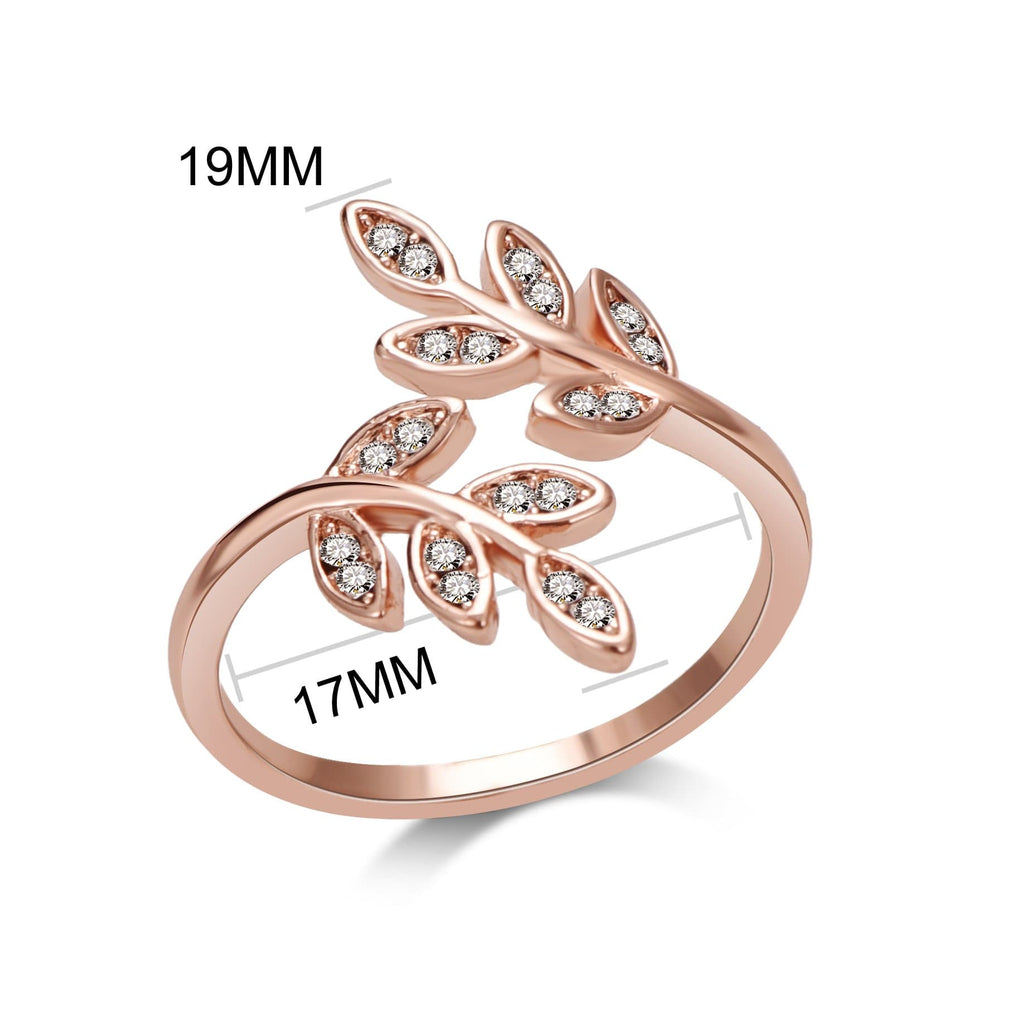 Rose Gold Leaf Ring Created with Swarovski® Crystals