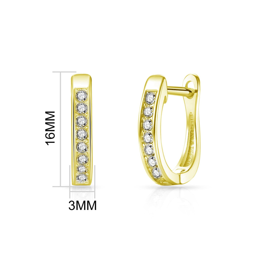 Gold Channel Set Hoop Earrings Created with Swarovski® Crystals