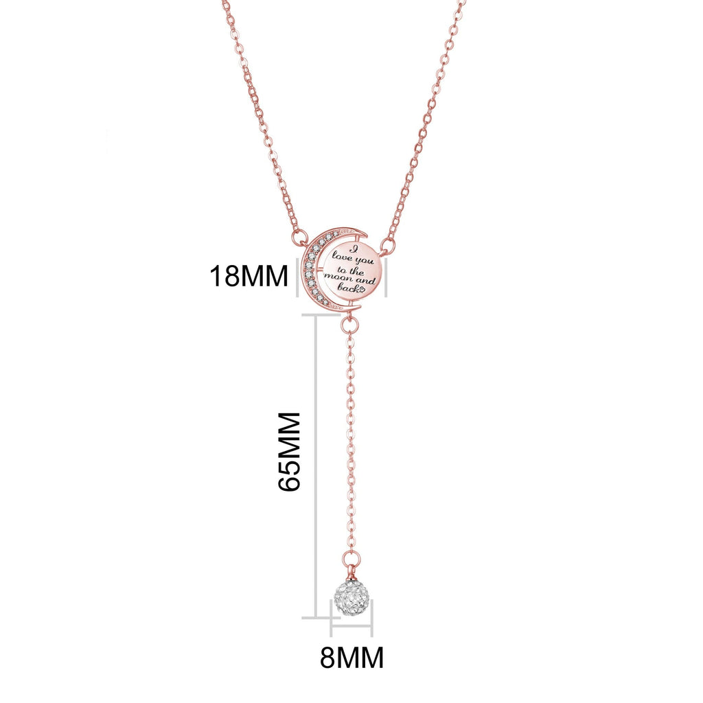 Rose Gold Moon and Back Necklace Created with Swarovski® Crystals
