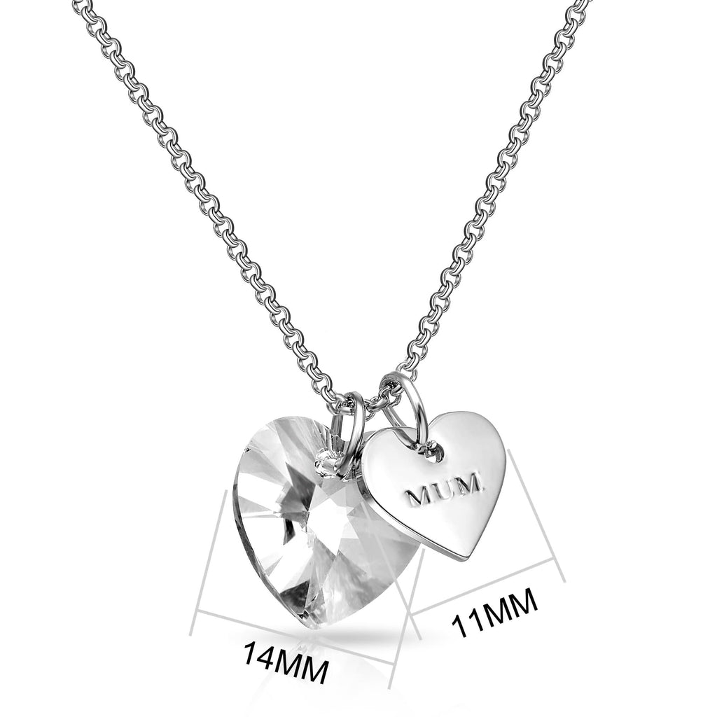 Mum Heart Charm Necklace with Quote Card Created with Swarovski® Crystals