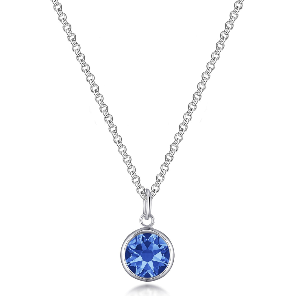September (Sapphire) Birthstone Necklace Created with Swarovski® Crystals