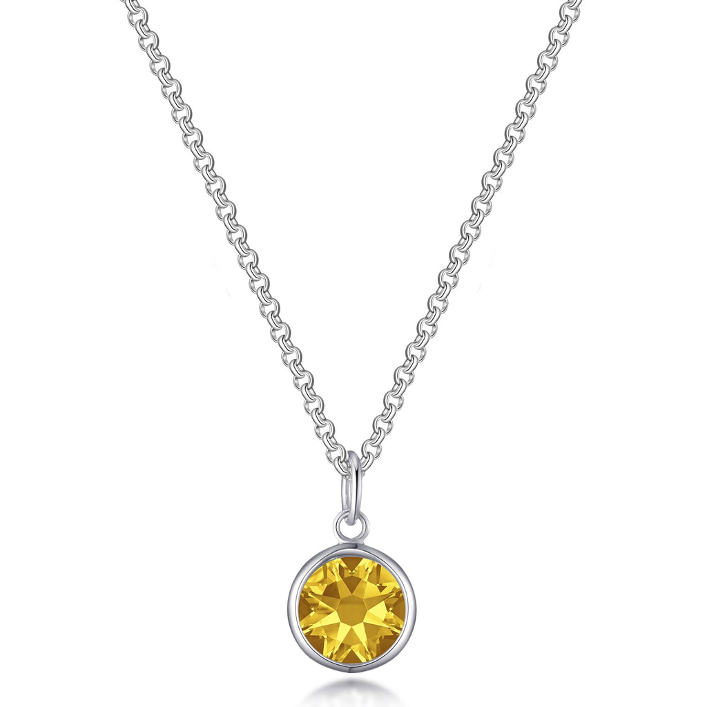 November (Topaz) Birthstone Necklace Created with Swarovski® Crystals