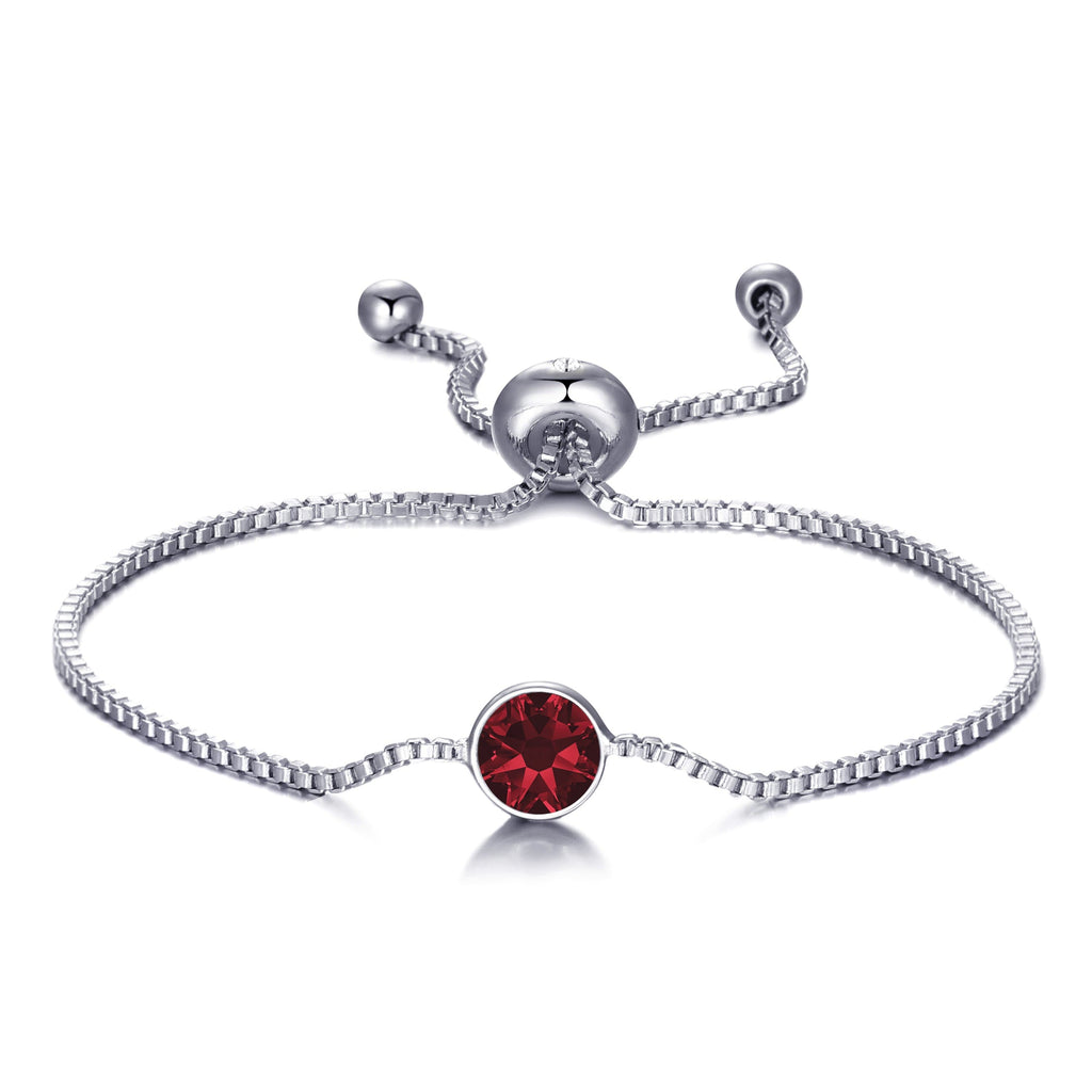 January (Garnet) Birthstone Bracelet Created with Swarovski® Crystals