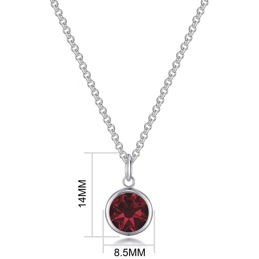 January (Garnet) Birthstone Necklace Created with Swarovski® Crystals