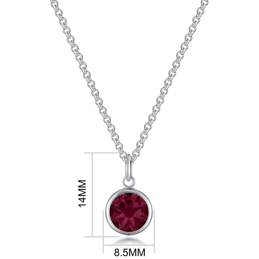 July (Ruby) Birthstone Necklace Created with Swarovski® Crystals