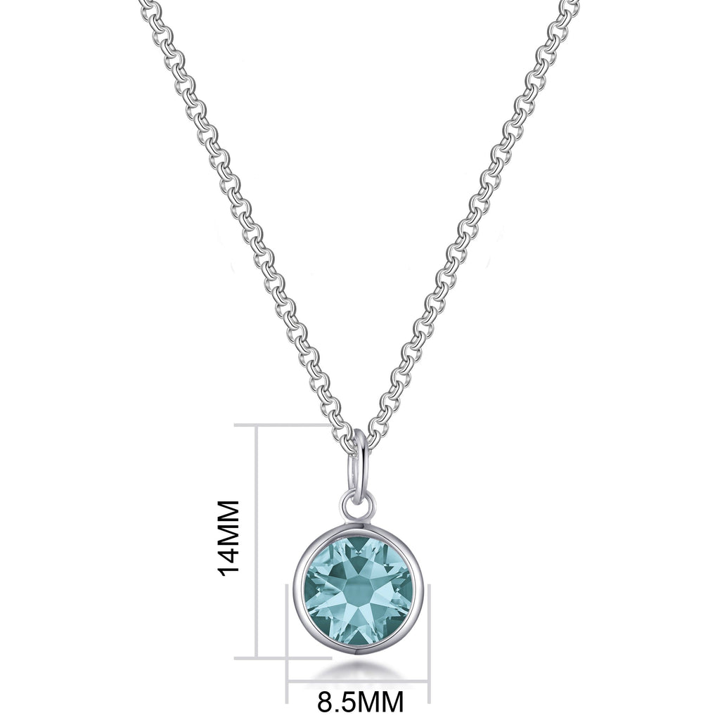 December (Blue Topaz) Birthstone Necklace Created with Swarovski® Crystals
