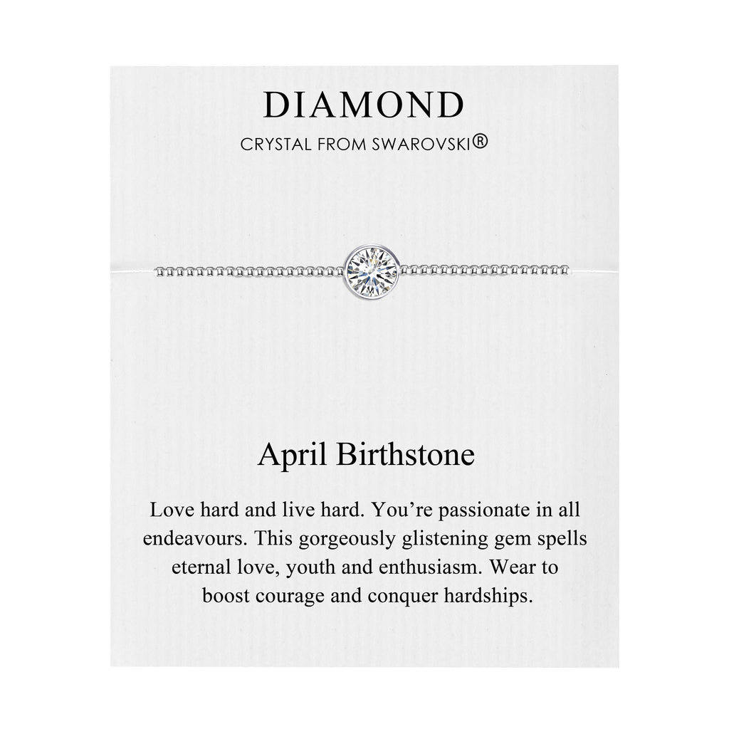 April (Diamond) Birthstone Bracelet Created with Swarovski® Crystals