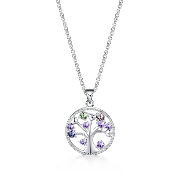 Silver Chakra Tree of Life Necklace Created with Swarovski® Crystals