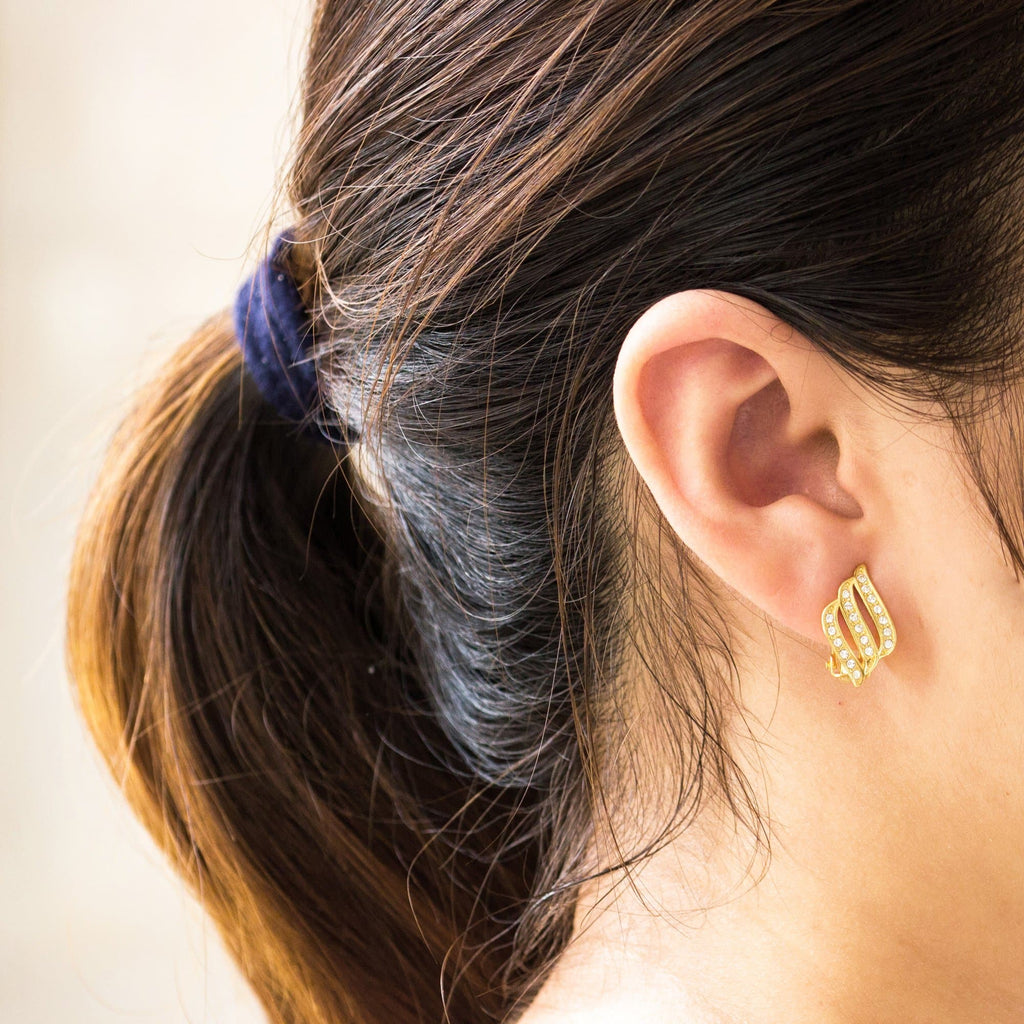Gold Triple Row Clip On Earrings Created with Swarovski® Crystals