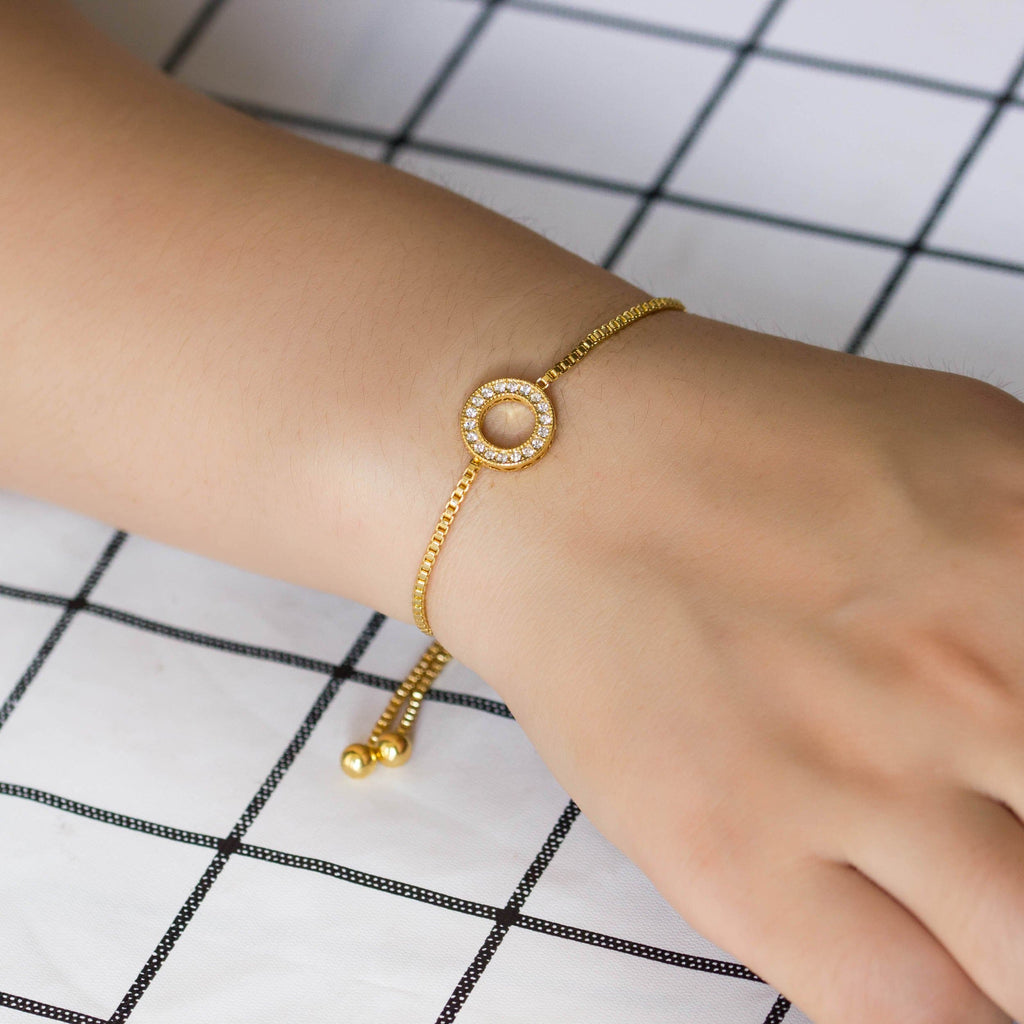 Gold Circle of Life Friendship Bracelet Created with Swarovski® Crystals