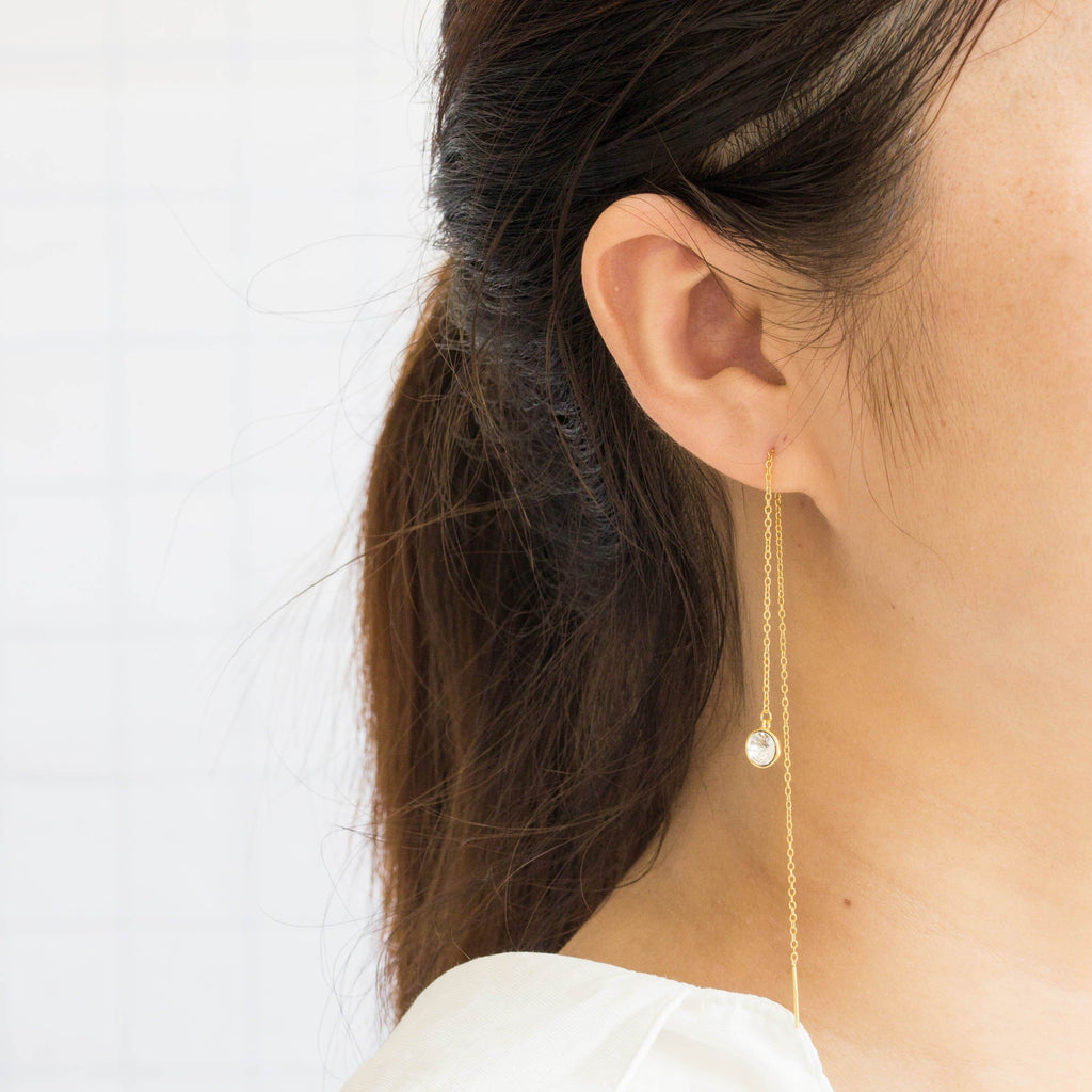 Gold Sterling Silver Thread Earrings Created with Swarovski® Crystals