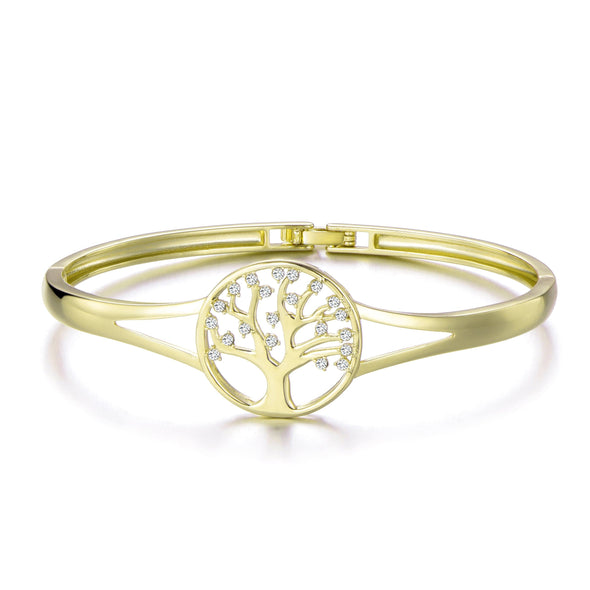 Gold Tree of Life Cuff Bangle Created with Swarovski® Crystals