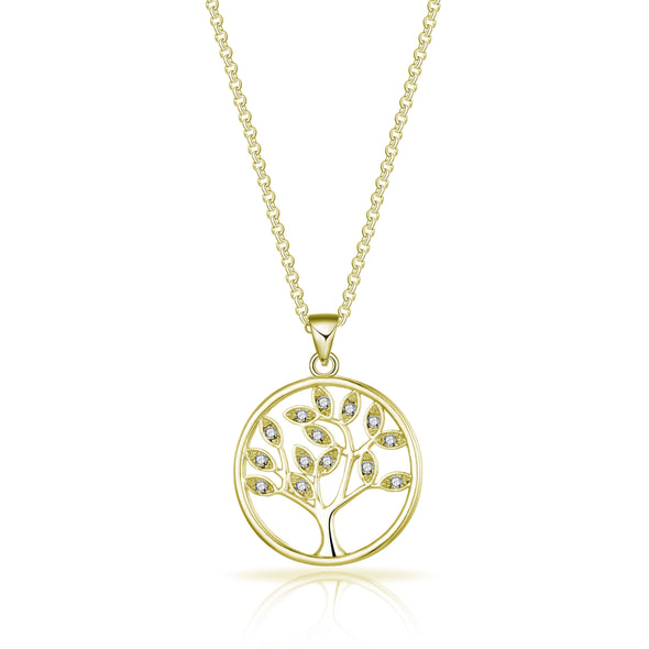 Gold Tree of Life Necklace Created with Swarovski® Crystals