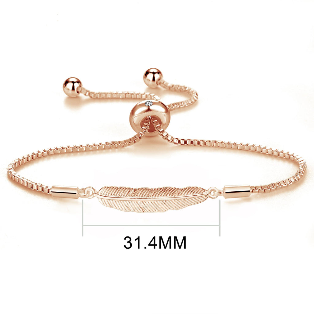 Rose Gold Feather Friendship Bracelet Created with Swarovski® Crystals