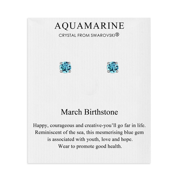 March (Aquamarine) Birthstone Earrings Created with Swarovski® Crystals