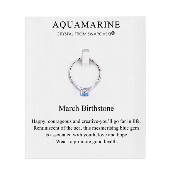 March (Aquamarine) Birthstone Ring Created with Swarovski® Crystals