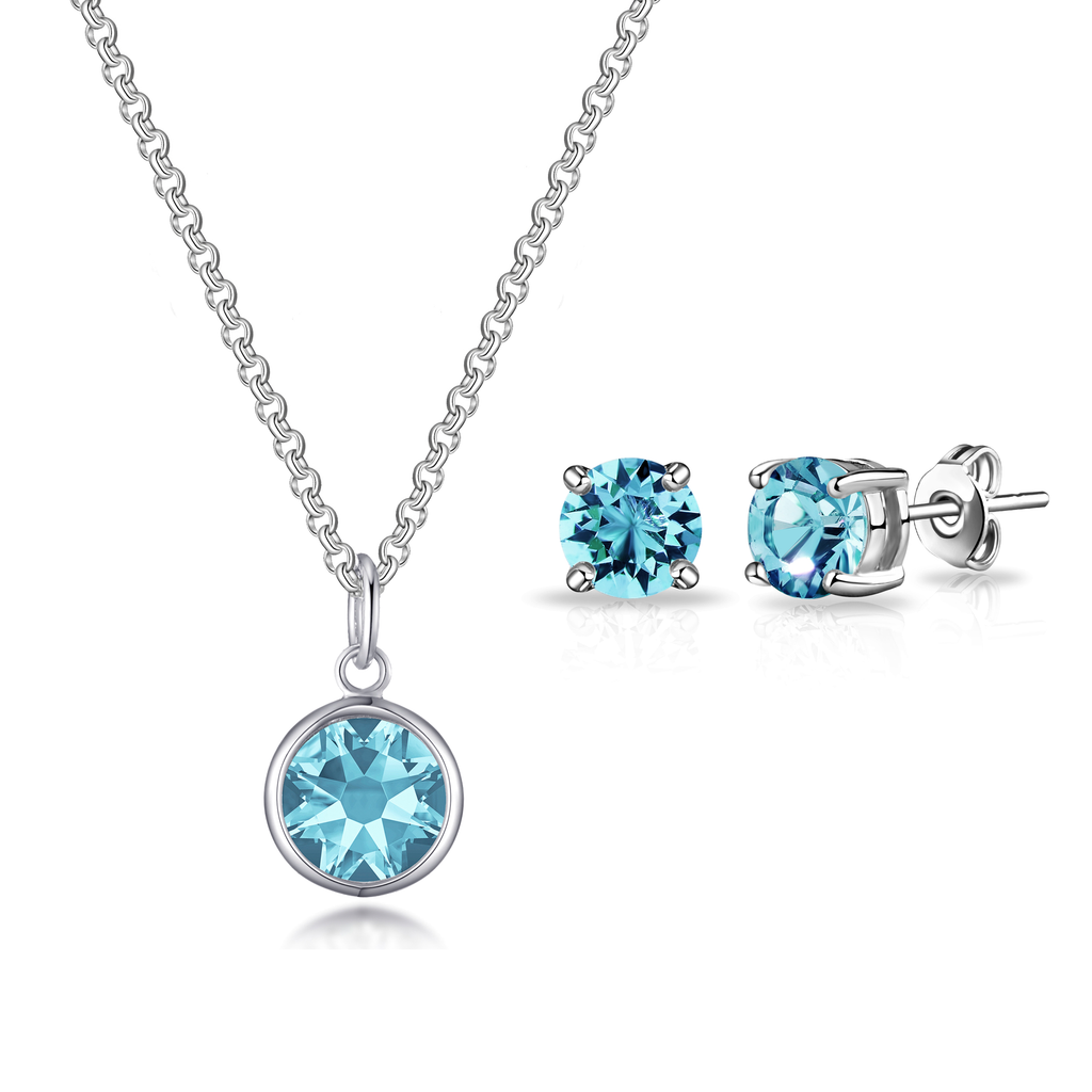 March (Aquamarine) Birthstone Necklace & Earrings Set Created with Swarovski® Crystals