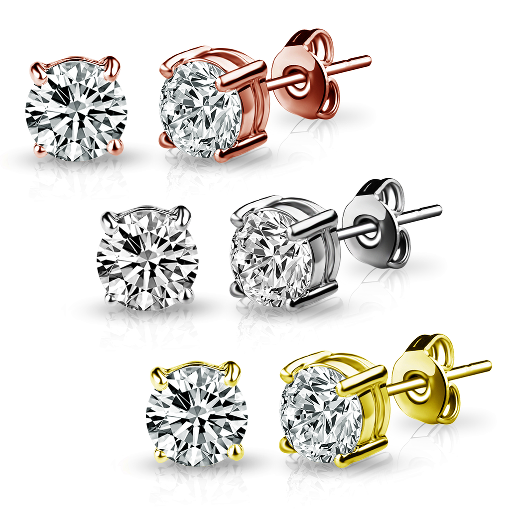 Three Pack of 6mm Earrings Created with Swarovski® Crystals