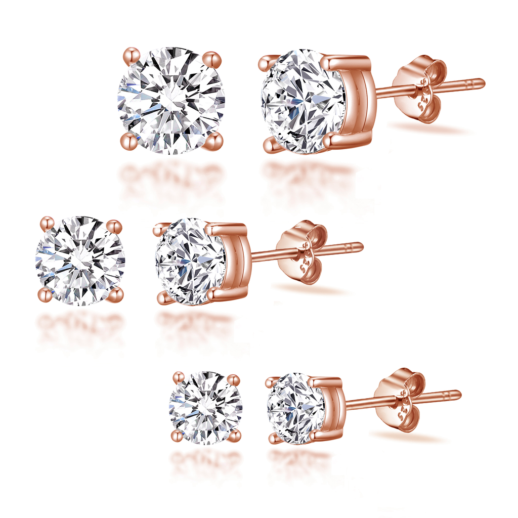 Rose Gold Sterling Silver 3 Pack of 4, 5, and 6mm Earrings Created with Swarovski® Crystals